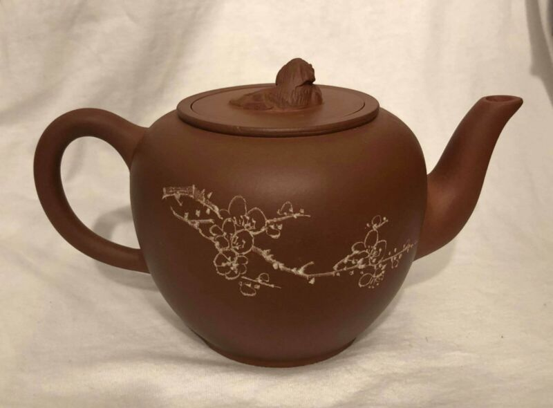 Antique Calligraphy   Vintage Chinese Yixing Teapot Pottery Terracotta Clay
