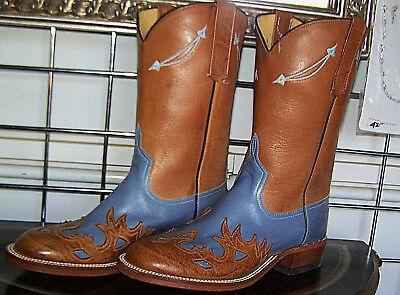 Anderson Bean Glockenblume Blau Hellbraun Wingtip Cowboystiefel 6 - Blaue Stiefel Für Damen