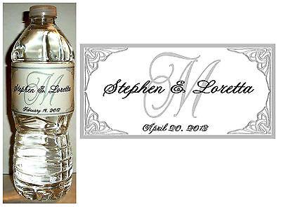 100  PERSONALIZED SILVER MONOGRAM WEDDING WATER BOTTLE LABELS  Waterproof Ink - Bottle Labels
