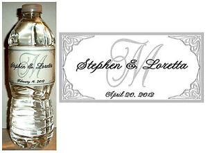 100 Personalized Silver Monogram Wedding Water Bottle Labels Waterproof Ink