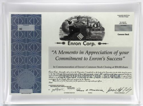 *RARE* Enron Corp. Lucite Miniature Stock Certificate Award - 1998 - NYSE