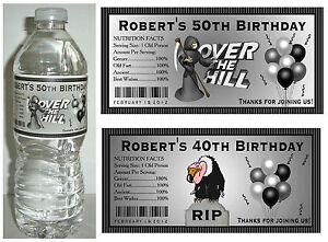 20 OVER THE HILL 40th 50th 60th BIRTHDAY PARTY FAVORS ~ WATER BOTTLE LABELS