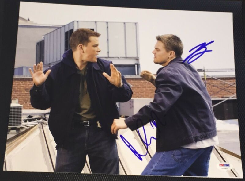 "LEONARDO DICAPRIO & MATT DAMON SIGNED ""THE DEPARTED"" 11X14 PHOTO PSA/DNA V04813"