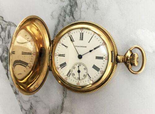 Vintage Waltham Seaside 6S Hunter Pocket Watch Gold Overlay 15 Jewels Runs