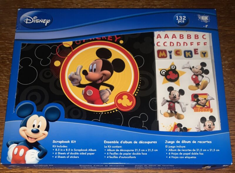 """New Disney Mickey Mouse Scrapbook Photo Album Kit 8""""x8"""" Stickers (missing Paper)"""