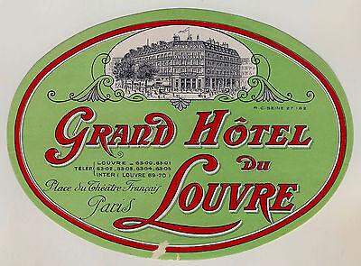 Grand Hotel du Louvre PARIS France * Old Luggage Label Kofferaufkleber