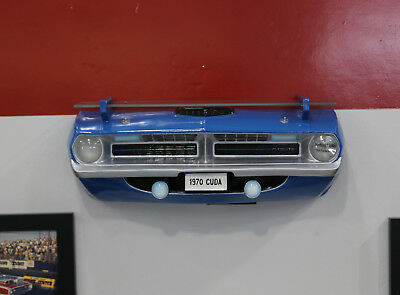 1970 Plymouth Barracuda Painted Blue Resin Wall Decor w/ Shelf & Lights 7580-104