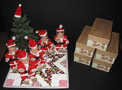 ♚ ORIGINAL Set 1930's MADAME ALEXANDER DIONNE QUINTUPLET DOLLS dressed as Santa