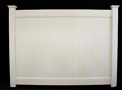 80' 6' x 8' PVC Solid Privacy Vinyl Fence White with Posts & Caps