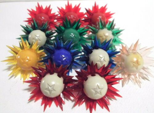 12 VTG Paramount Star Light Raylite Sputnik C6 Bulbs Christmas Red Grn Yel Blue