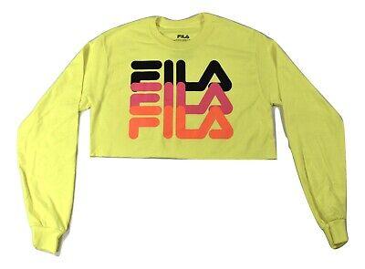 FILA Womens Fluorescent Crop Top Long Sleeve Shirt New XS, S, L