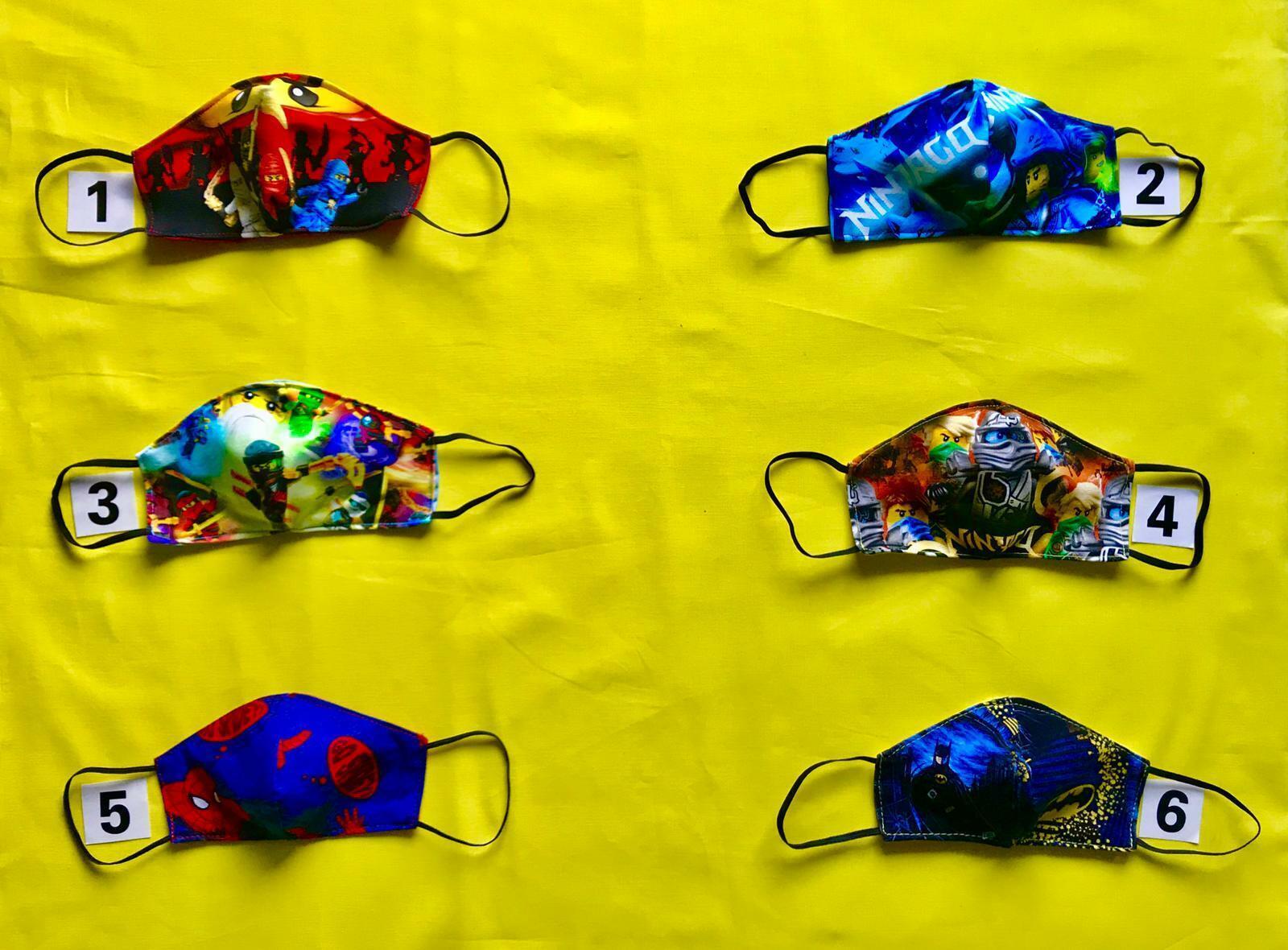 Mundschutzmasken für Kinder Ninjago/ Batman/Spiderman /2 lagig /100% Baumwolle /