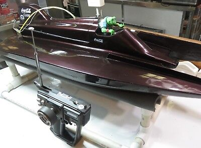 (Tunnel Hull Boat,  Vintage Fiberglass 36 inches Long, 15 Inches Wide, with Stand)