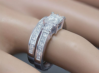 GIA H-VS2 14k white gold princess cut diamond engagement ring and band 2.00ctw 1