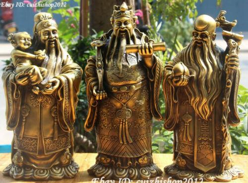 "14"" Chinese Pure Bronze FengShui 3 Longevity God Fu Lu Shou Immortal Statues Set"