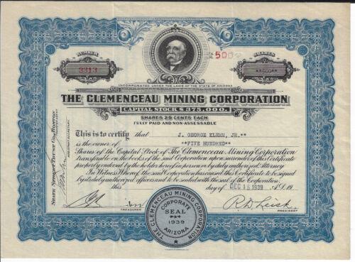ARIZONA 1939 The Clemenceau Mining Corporation Stock Certificate Yavapai County