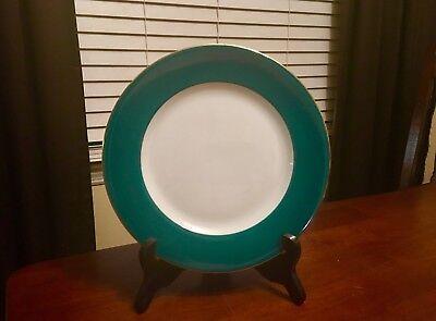 Service Rim Plate (Beautiful Zrike Service Salad Plate White porcelain Green Band Gold Rim 8