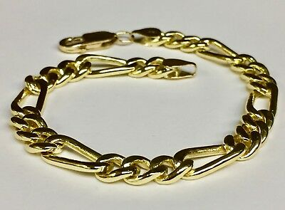 "10k Solid Yellow Gold Handmade Figaro Curb link mens bracelet 8"" 18 Grams 7 MM"
