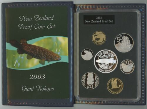 2003 NEW ZEALAND Silver Proof (7) Coin Set W/ Box - Franklin Mint