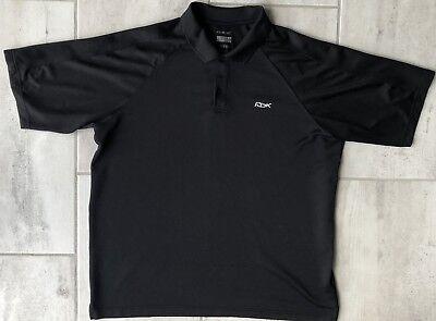 Rbk Golf (Vintage Reebok RBK Play Dry Golf Polo Shirt Black Short Sleeve Mens Size 2XL)