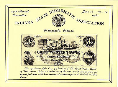 1981 Souvenir Card - Indiana State Numismatic Assoc. Great Western - Terre Haute