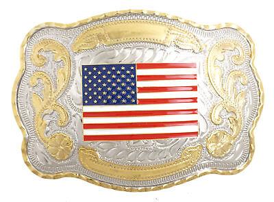 USA U.S. American Flag Patriotic Western Style Large Metal Belt Buckle