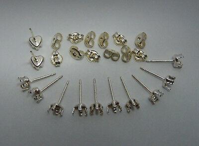 6PRS 4x4 HEART SNAP tite set STUD earring mounts settings Sterling -