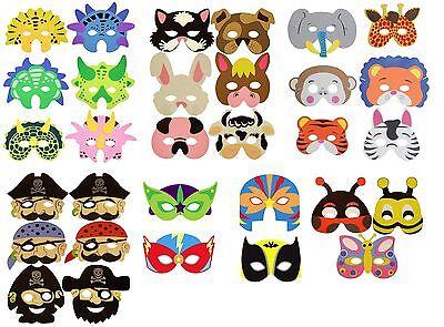 Childrens Foam Masks Party Fancy Dress Birthday Farm Jungle Superhero Pirate Lot (Superhero Foam Masks)