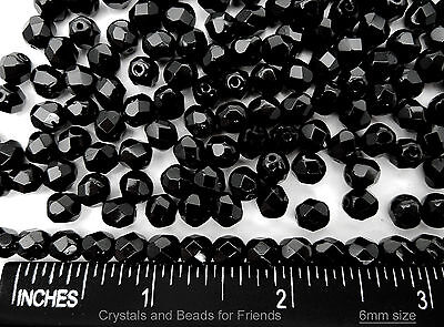 300 Preciosa Czech Glass Fire Polished Beads 6mm Jet black, loose