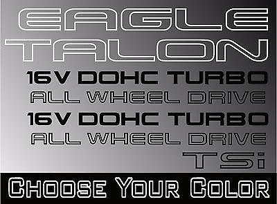 1G Eagle Talon Turbo AWD 1989-1994 -Replacement Decals DSM Left Right Side