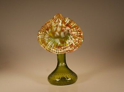 Vintage Deco Czech Glass Green Jack in the Pulpit Vase End of Day Glass c.1930