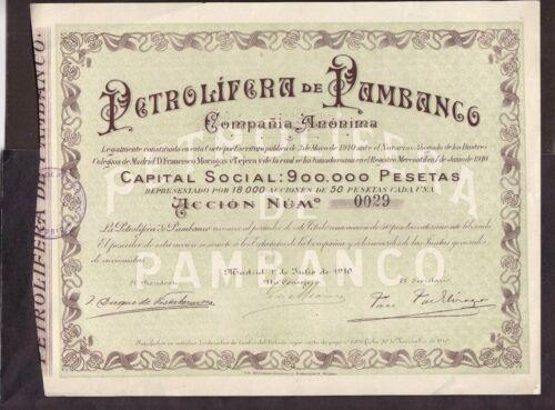 Petrolífera de Pambanco,Share certific.1910   Spain