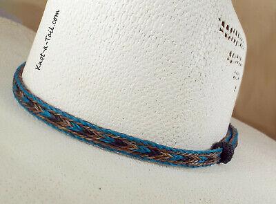 Multi Strand Band (Horsehair HAT BAND, no tassels, multi-strand horsehair, Turquoise/Cinnamon,black )