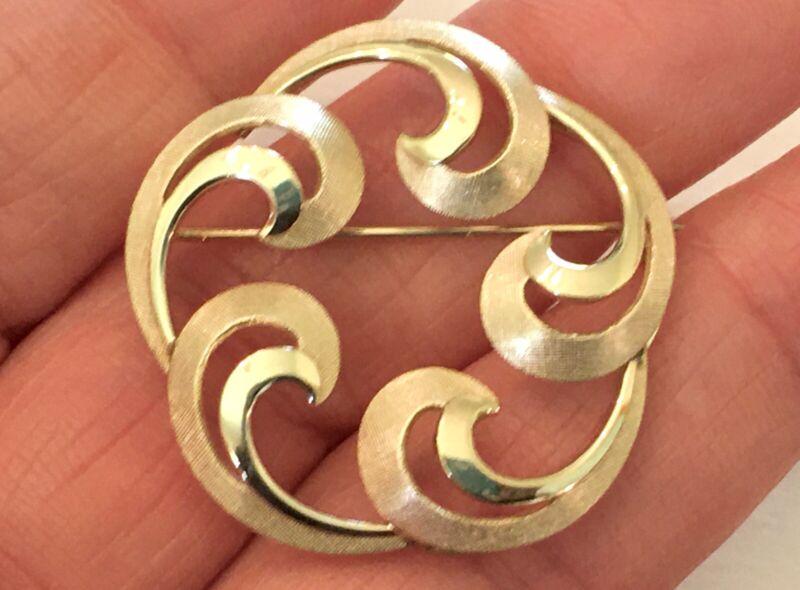 "Vintage ~ A&Z ~ 12K Gold Filled ~ Satin & Shiny ~ 1.25"" Circle Pin"