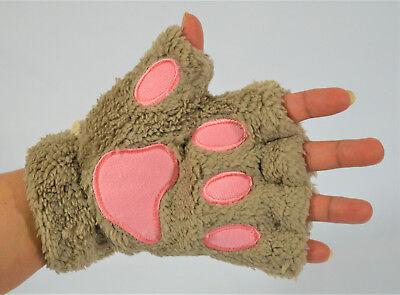 GLOVES BEAR CAT PAW FAUX FUR WINTER WEAR COSPLAY, LIGHT BROWN COSTUME HALLOWEEN](Cat Gloves Costume)