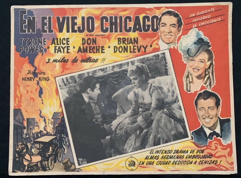 IN OLD CHICAGO Tyrone Power Alice Faye 1938 Vintage MEXICAN LOBBY CARD