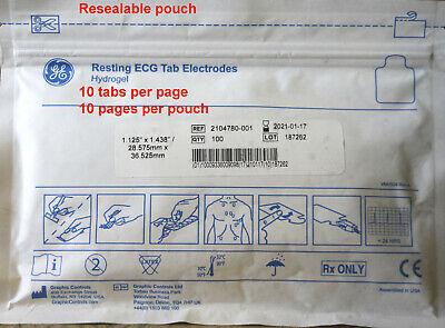 200 Ge Resting Ecg Tab Electrodes. Hydrogel. Ref 2104780-001. Exp Jan-21
