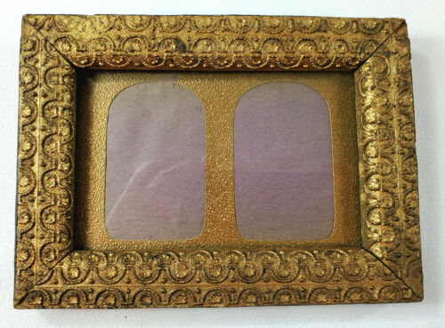 """Petite Antique Victorian Picture Frame fits 4 x 6"""" Decorative Gold Gesso on Wood"""