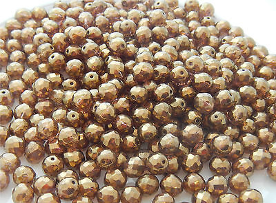 100 PCS WHOLESALE - 8mm CZECH GLASS FIRE POLISHED BEADS-LUMI GOLD SM/TOPAZ