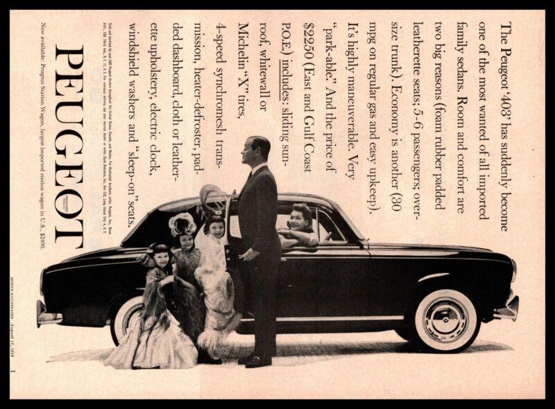1959 Peugeot 403 Four-Door Sedan Little Girls In Fancy Dresses Vintage Print Ad