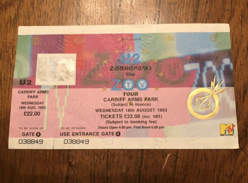 RARE! U2 Concert Ticket 1993 Zooropa Tour ZOO TV - CARDIFF ARMS PARK, Wales