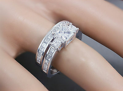 GIA H-VS2 14k white gold princess cut diamond engagement ring and band 2.00ctw 2