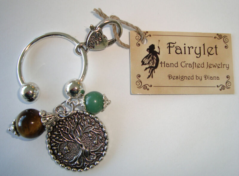 Handmade Keychain Tree Charm/Tigers Eye/Aventurine W/ Lobster Clasp NEW!
