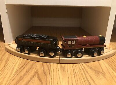 2-pc CIRCO Magnetic WOODEN TRAIN Maroon Steam Engine & Coal Car Fits Thomas Brio
