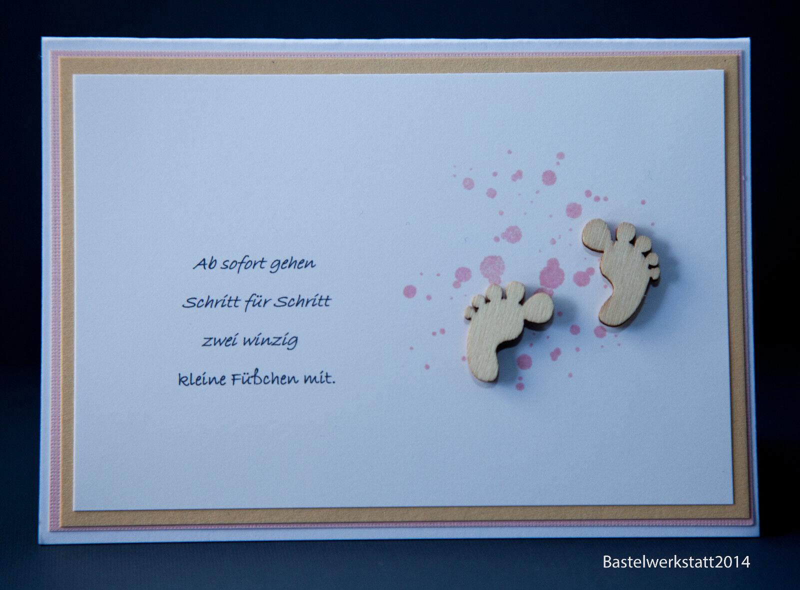 Glückwunschkarte zum Baby Karte Mädchen Geburtskarten Grußkarten Handarbeit 3D
