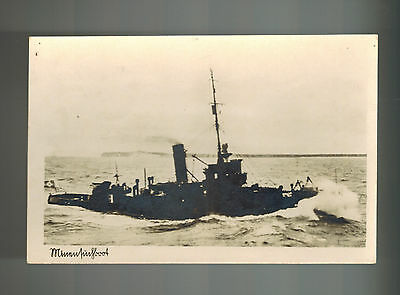 1943 New Germany Navy Kriegsmarine Ship Minesweeper At Sea Real Picture Postcard