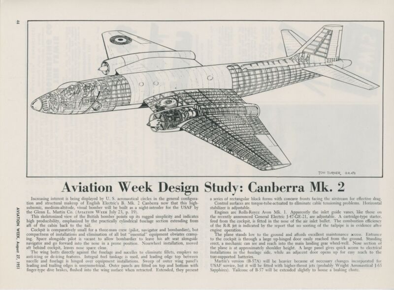 1951 Aviation Article English Electric Canberra by Martin Aircraft Jet B-57