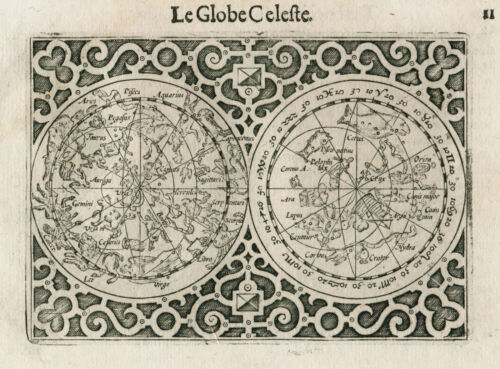 Original antique celestial map chart by Barent Langenes from 1609