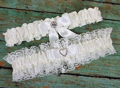 Wedding Garter Set With Handcuffs Charm, Lace And Satin, US SELLER - Garters Wedding