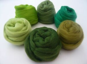 Heidifeathers-Merino-Wool-Tops-6-Green-Shades-for-Felting-Spinning